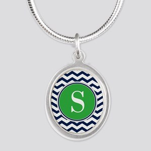 Any Letter, Navy Blue and Gre Silver Oval Necklace