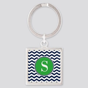 Any Letter, Navy Blue and Green Ch Square Keychain