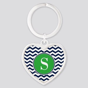 Any Letter, Navy Blue and Green Che Heart Keychain
