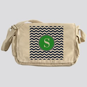 Any Letter, Navy Blue and Green Chev Messenger Bag