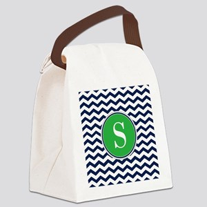 Any Letter, Navy Blue and Green C Canvas Lunch Bag