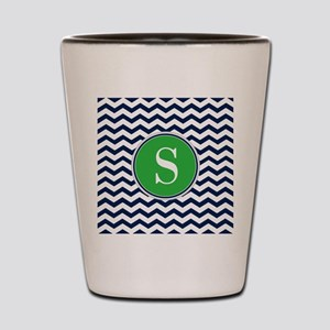 Any Letter, Navy Blue and Green Chevron Shot Glass