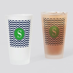Any Letter, Navy Blue and Green Che Drinking Glass