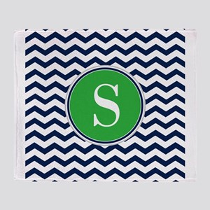 Any Letter, Navy Blue and Green Chev Throw Blanket