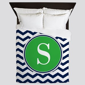 Any Letter, Navy Blue and Green Chevro Queen Duvet