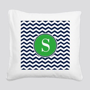 Any Letter, Navy Blue and Gre Square Canvas Pillow