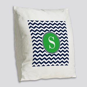 Any Letter, Navy Blue and Gree Burlap Throw Pillow
