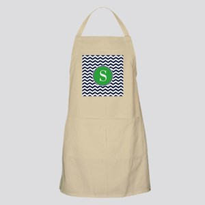 Any Letter, Navy Blue and Green Chevron Mono Apron