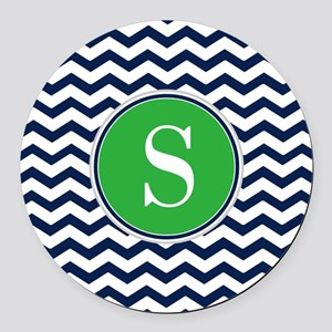 Any Letter, Navy Blue and Green C Round Car Magnet