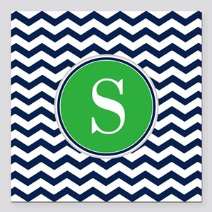 """Any Letter, Navy Blue an Square Car Magnet 3"""" x 3"""""""