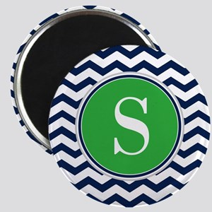 Any Letter, Navy Blue and Green Chevron Mon Magnet