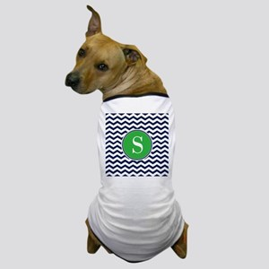 Any Letter, Navy Blue and Green Chevro Dog T-Shirt