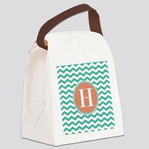Any Letter, Coral Teal Chevron Mo Canvas Lunch Bag