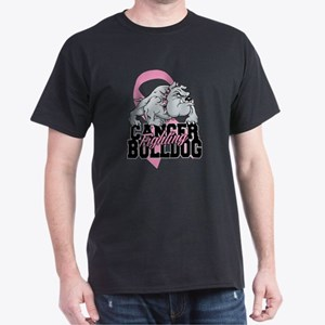 Breast Cancer Bulldog Dark T-Shirt