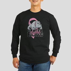 Breast Cancer Bulldog Long Sleeve Dark T-Shirt
