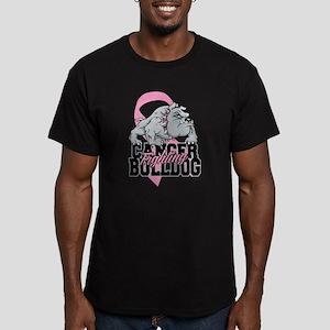 Breast Cancer Bulldog Men's Fitted T-Shirt (dark)