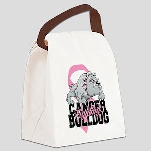 Breast Cancer Bulldog Canvas Lunch Bag