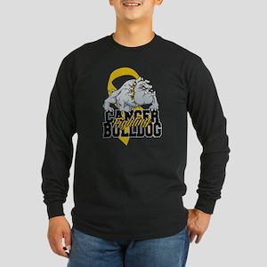 Childhood Cancer Bulldog Long Sleeve Dark T-Shirt