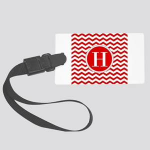 Any Letter, Red and White Chevro Large Luggage Tag