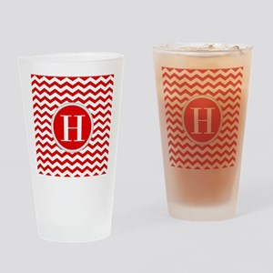 Any Letter, Red and White Chevron M Drinking Glass