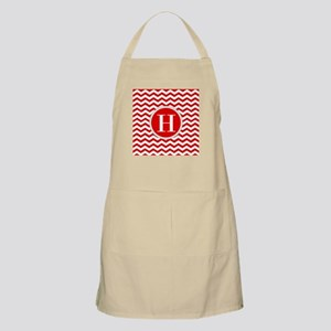 Any Letter, Red and White Chevron Monogram Apron