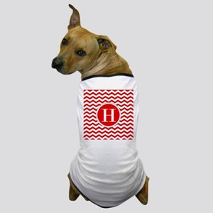 Any Letter, Red and White Chevron Mono Dog T-Shirt
