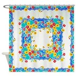 Vintage Floral Tablecloth Shower Curtain