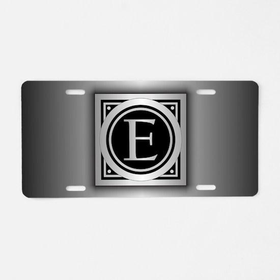 Deco Monogram E Aluminum License Plate