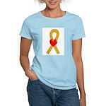 Gold Heart Ribbon Women's Light T-Shirt