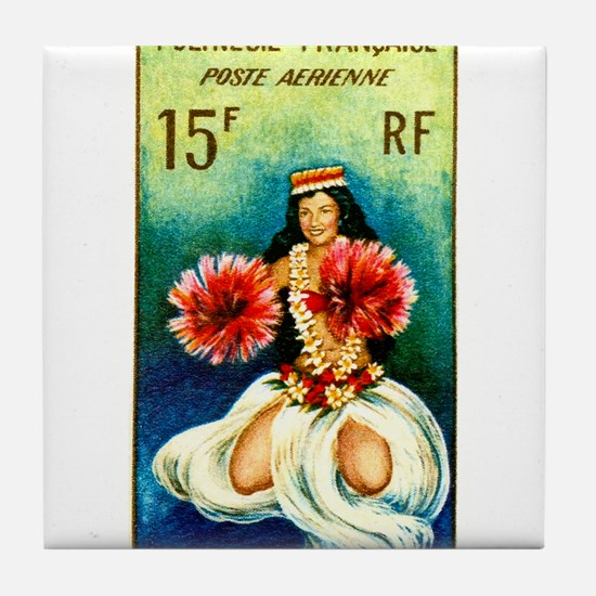 1964 French Polynesia Tahitian Dancer Stamp Tile C