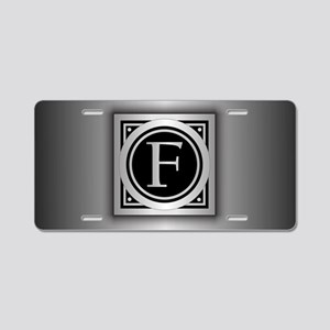 Deco Monogram F Aluminum License Plate