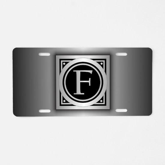 Deco Monogram F Aluminum License Plate