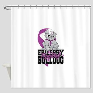 Epilepsy Bulldog Pup Shower Curtain