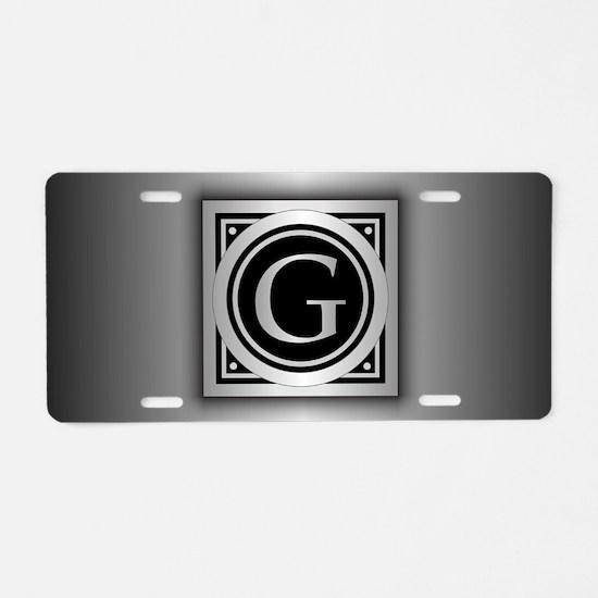 Deco Monogram G Aluminum License Plate