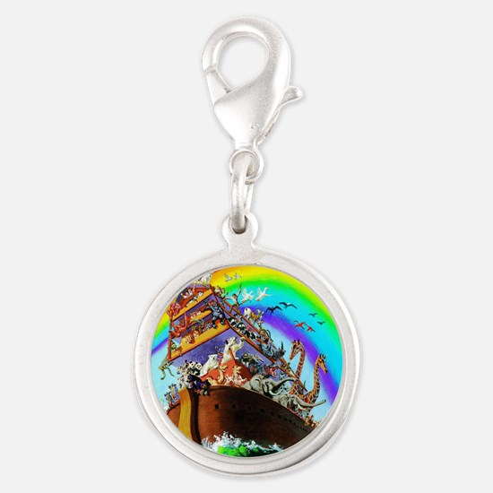 Noah's Ark drawing Silver Round Charm