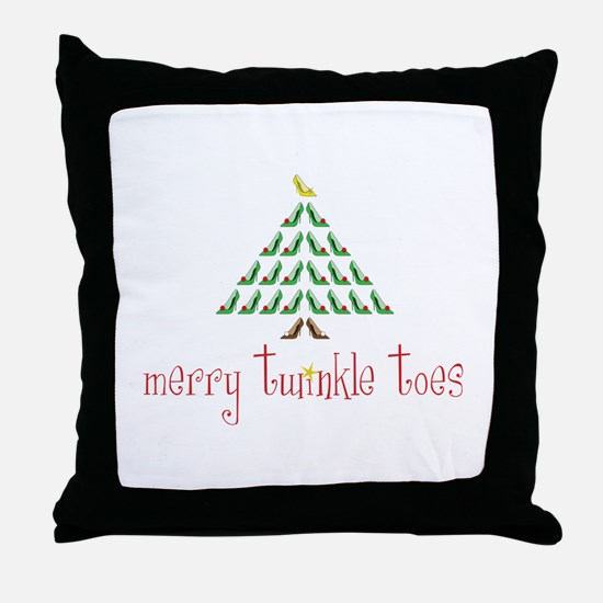 Merry Twinkle Toes Throw Pillow