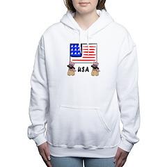 Patriotic USA Pugs Women's Hooded Sweatshirt