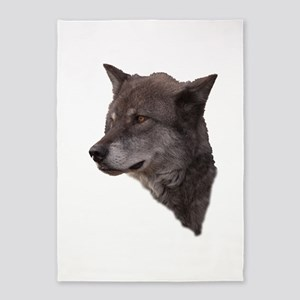 Portrait of a Wolf 5'x7'Area Rug