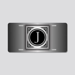 Deco Monogram J Aluminum License Plate