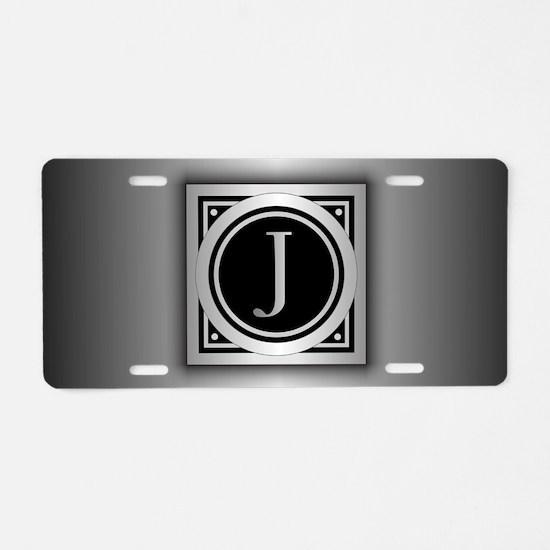 Deco Monogram J Aluminum License Plate