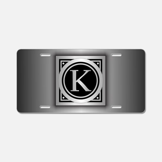 Deco Monogram K Aluminum License Plate