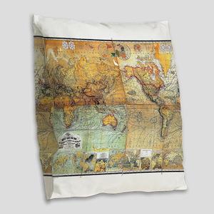 Nautical World Burlap Throw Pillow