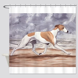 Whippet On The Beach Shower Curtain