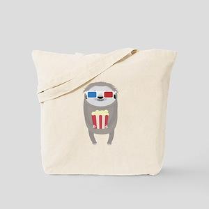 Cinema Sloth with Popcorn and Glasses Tote Bag