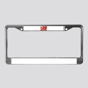 Grunge Turkey Flag License Plate Frame