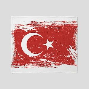 Grunge Turkey Flag Throw Blanket
