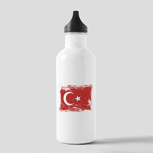 Grunge Turkey Flag Water Bottle