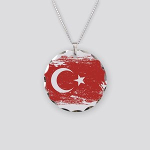 Grunge Turkey Flag Necklace