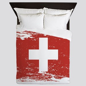 Grunge Switzerland Flag Queen Duvet