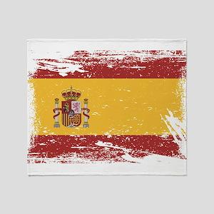 Grunge Spain Flag Throw Blanket
